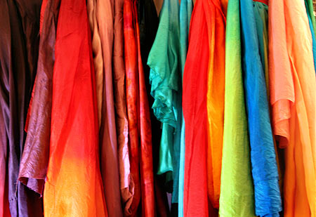 Dyed silk veils for belly dance